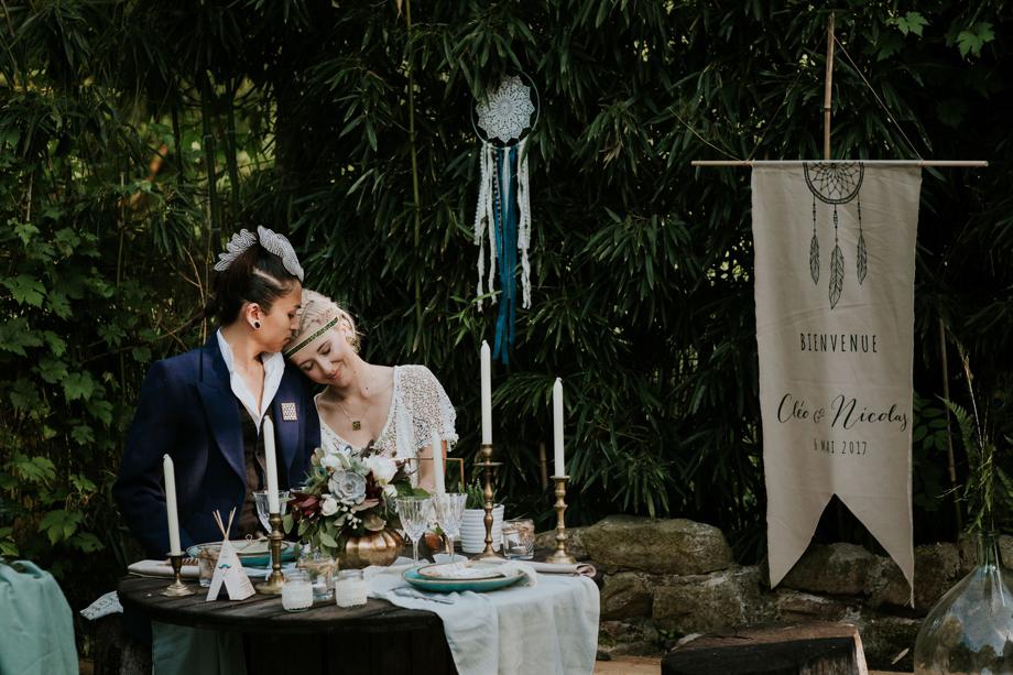 Décoration boho mariage dans un tipi
