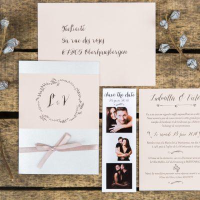 Faire part de mariage calligraphié rose poudré