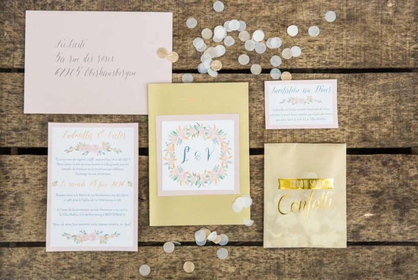 Faire part de mariage confetti & couleurs pastels