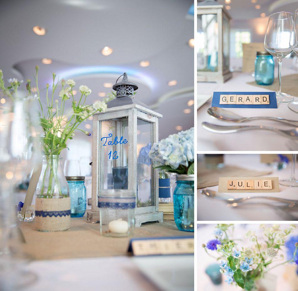 Décoration de mariage romantique bleu et lin