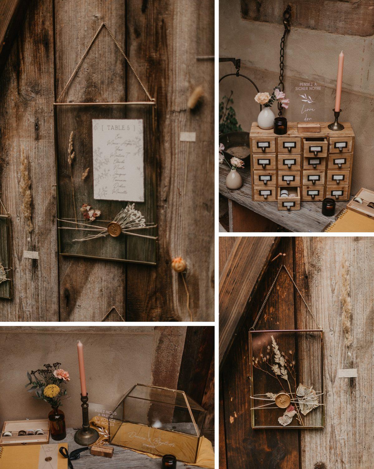 décoration de mariage bohème grange alsace