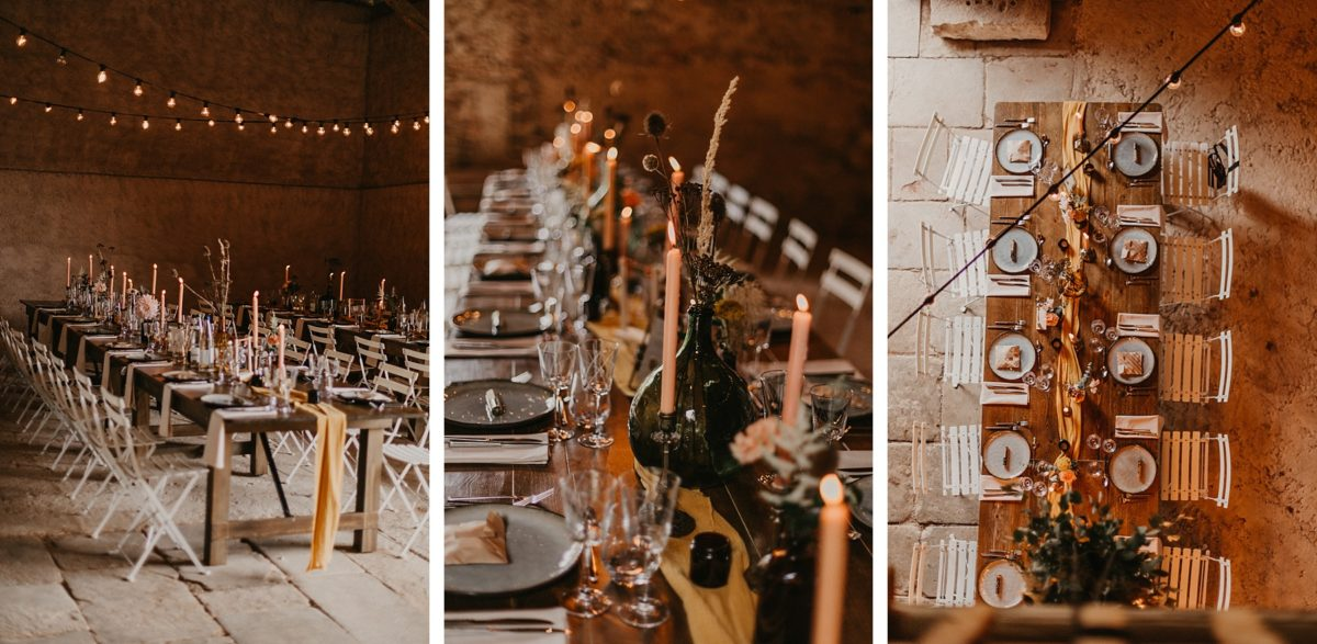 décoration de mariage bohème dans une grange en alsace