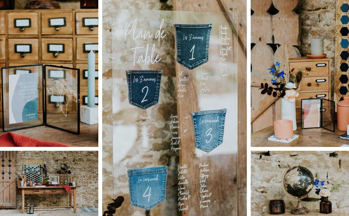 mariage folk jeans au morimont plan de table jeans