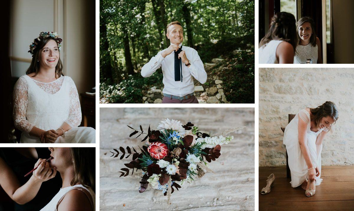 mariage folk jeans au morimont préparatifs bouquet