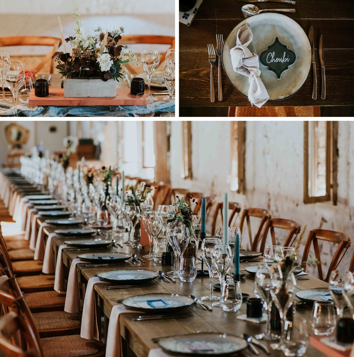 mariage folk jeans au morimont décoration de table