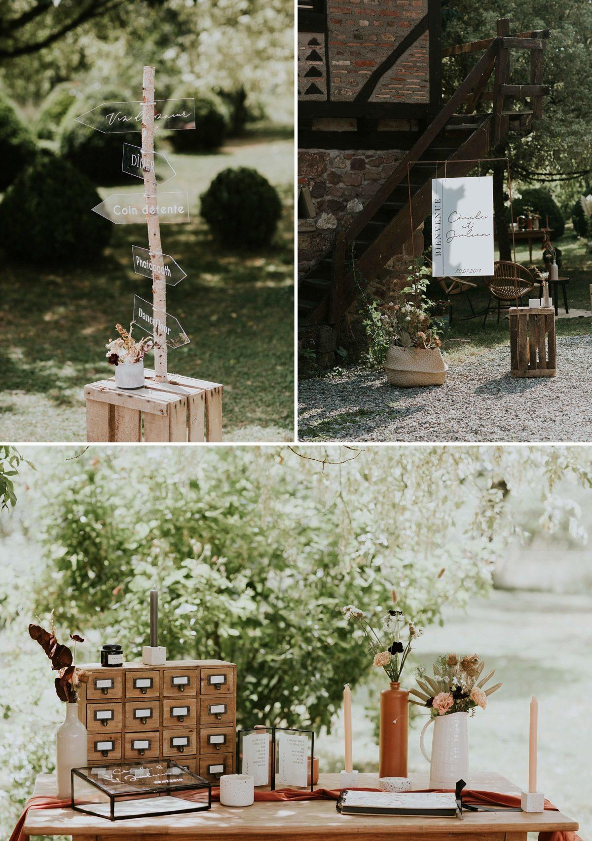 mariage moderne brique et terrazzo au domaine de saint loup en Alsace