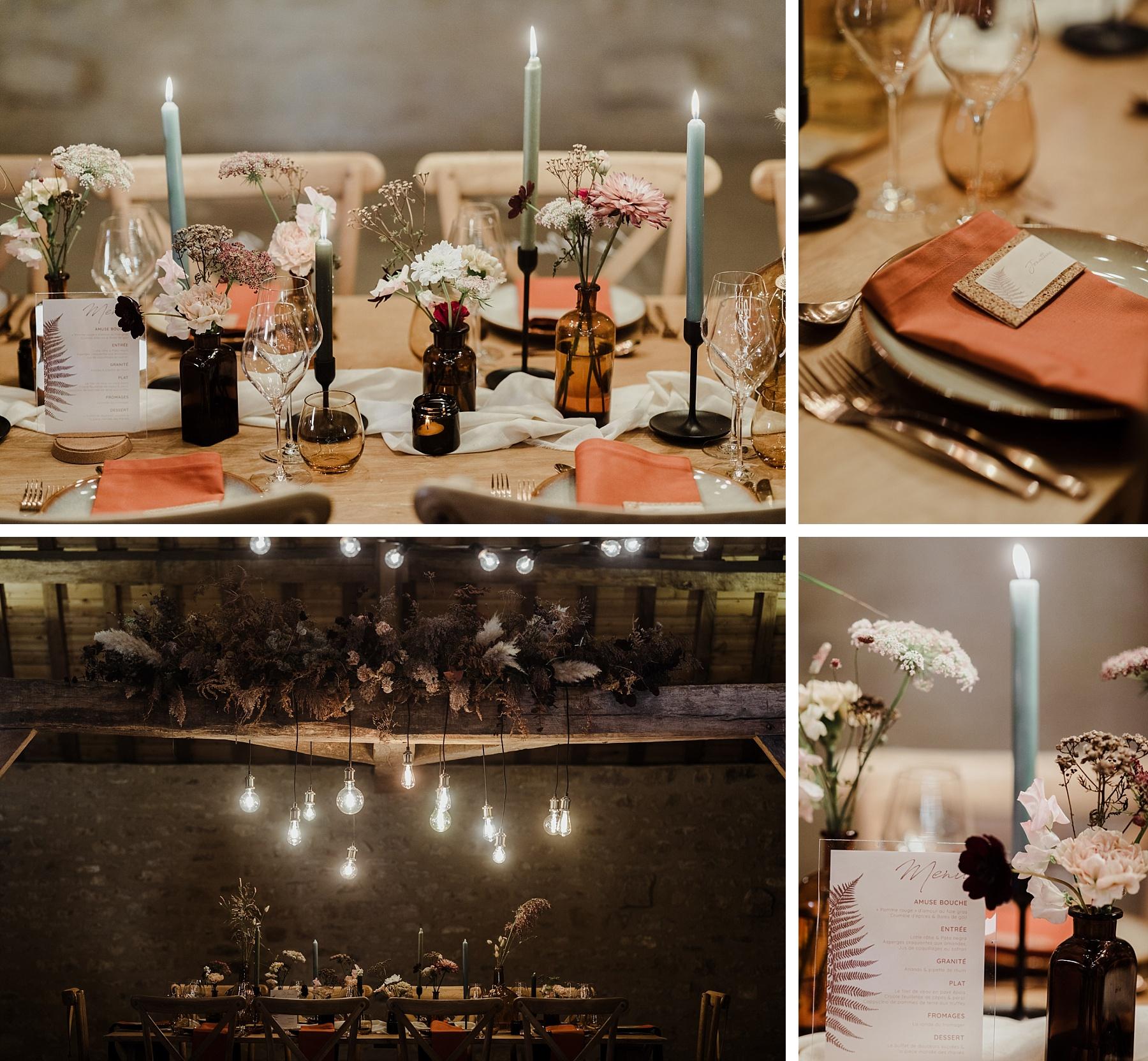 mariage brique au clos de Lorraine décoration table