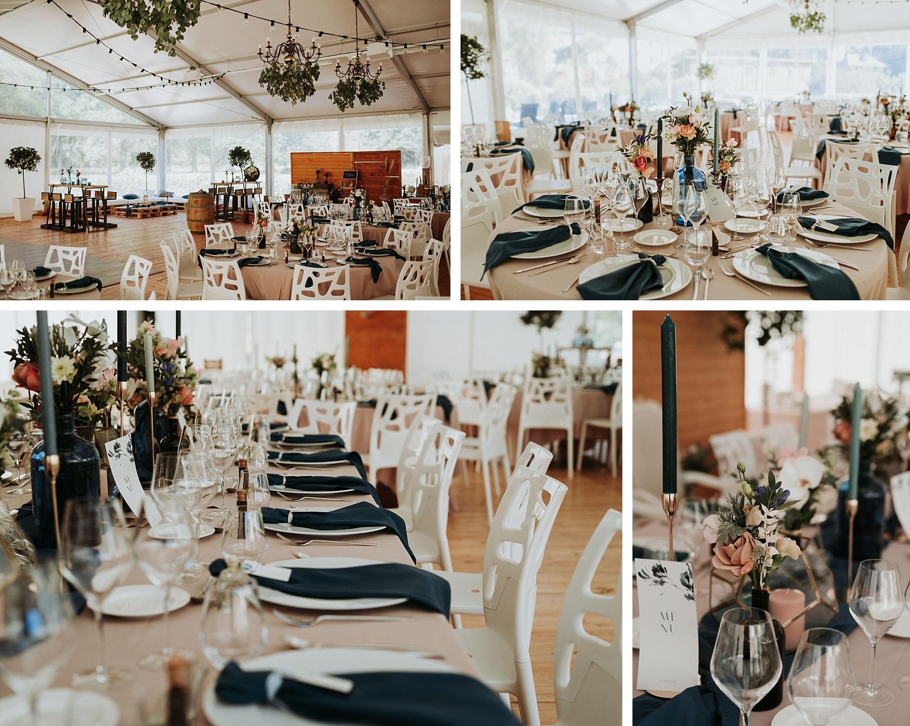 mariage romantique au château de Thanvillé déco de table