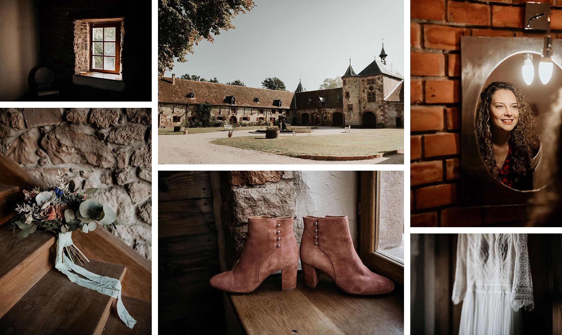 mariage romatinque au château de Thanvillé mariée