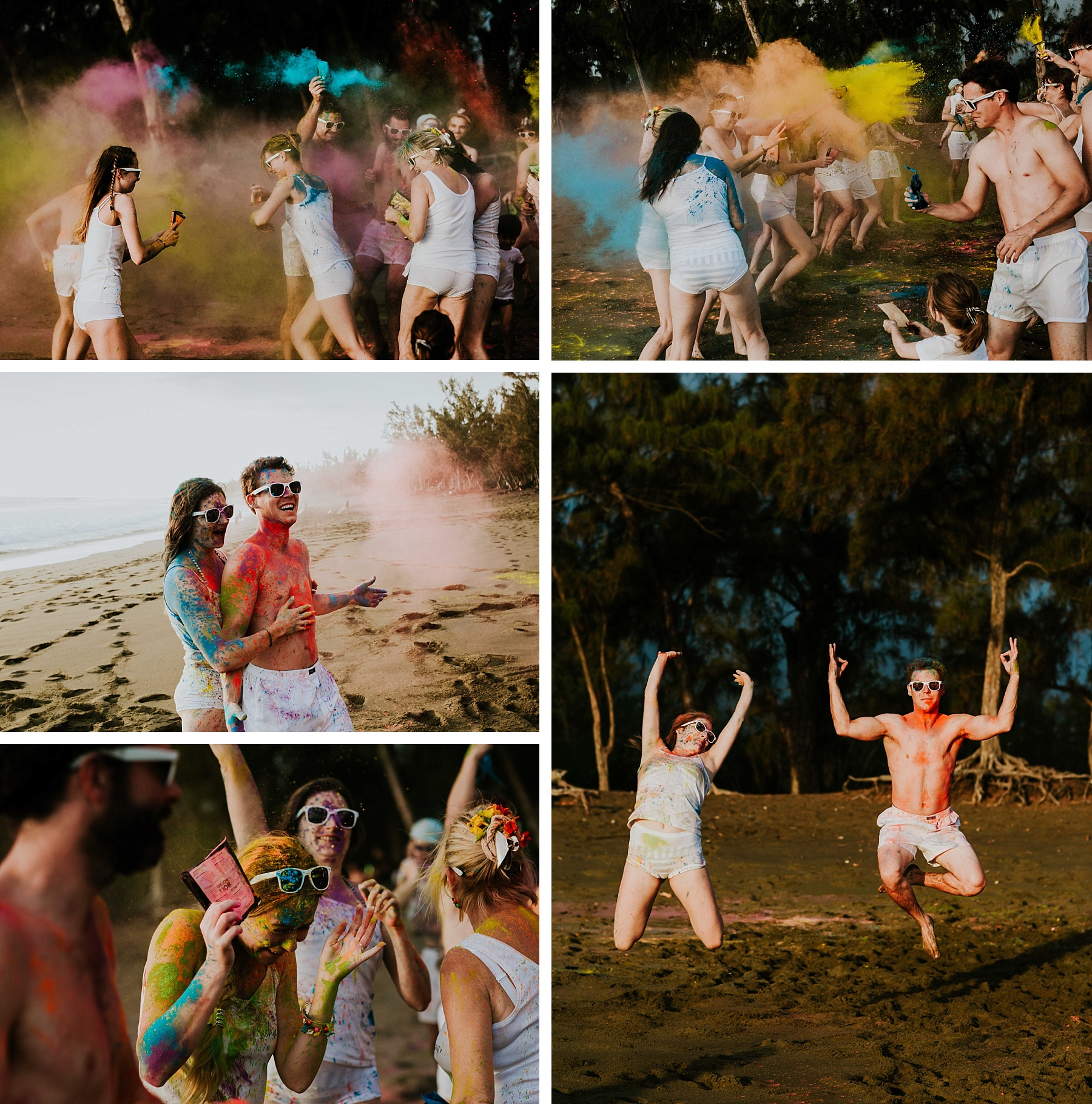 mariage plage la réunion color party