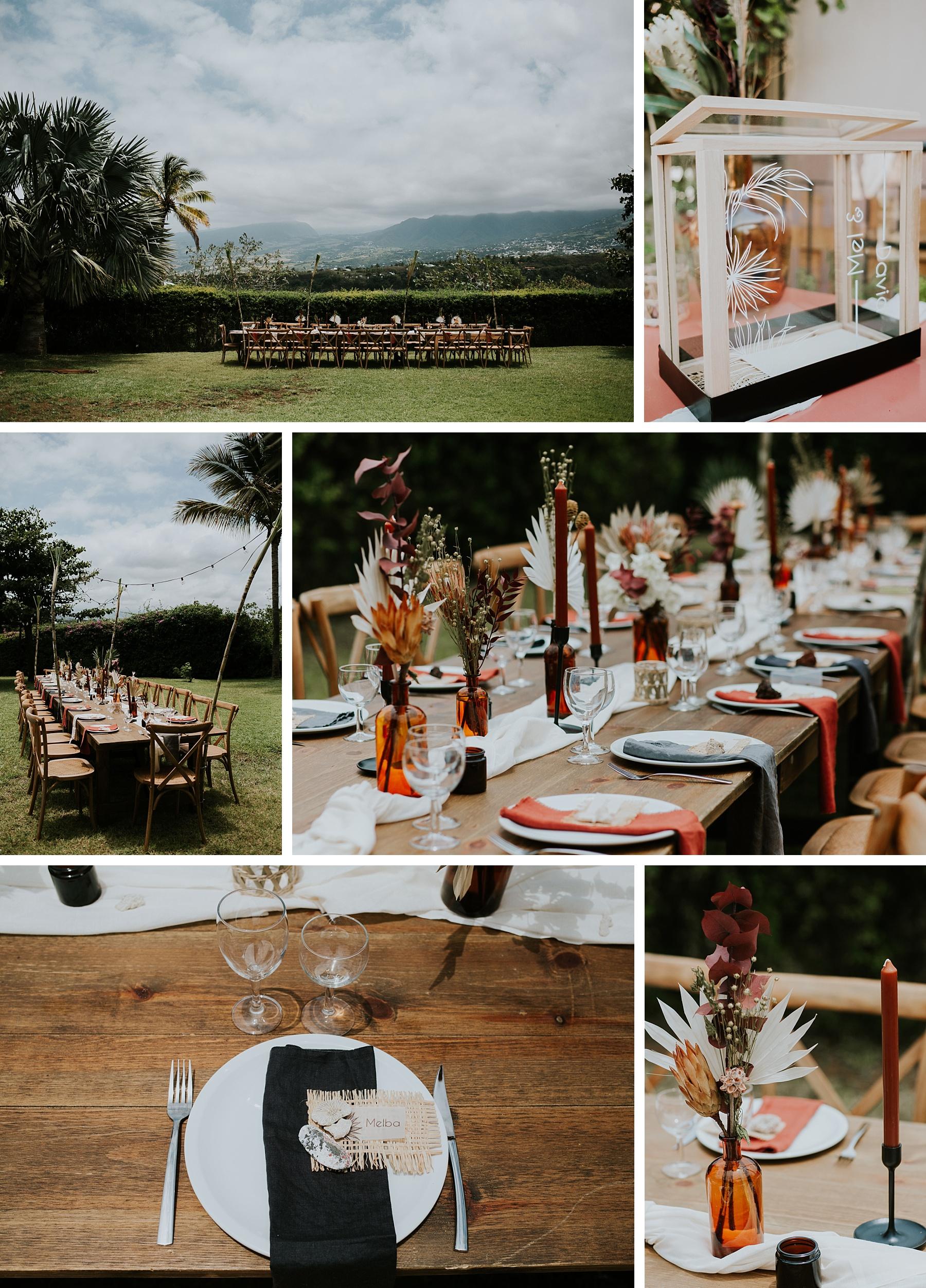 mariage plage la réunion décoration table