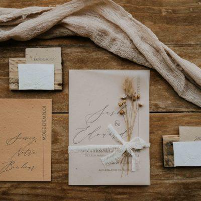 Faire-part de mariage éco-responsable en papier ensemencé