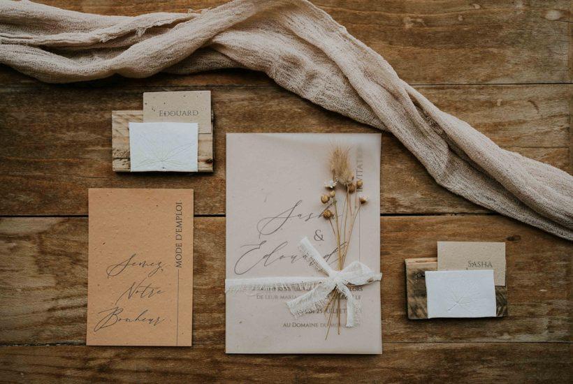 faire part éco-responsable papier ensemencé fleurs séchées