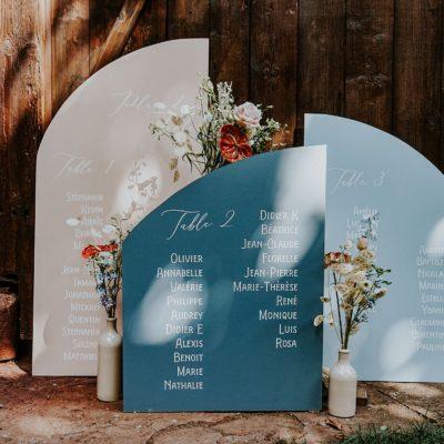 plan de table mariage moderne et graphique grange