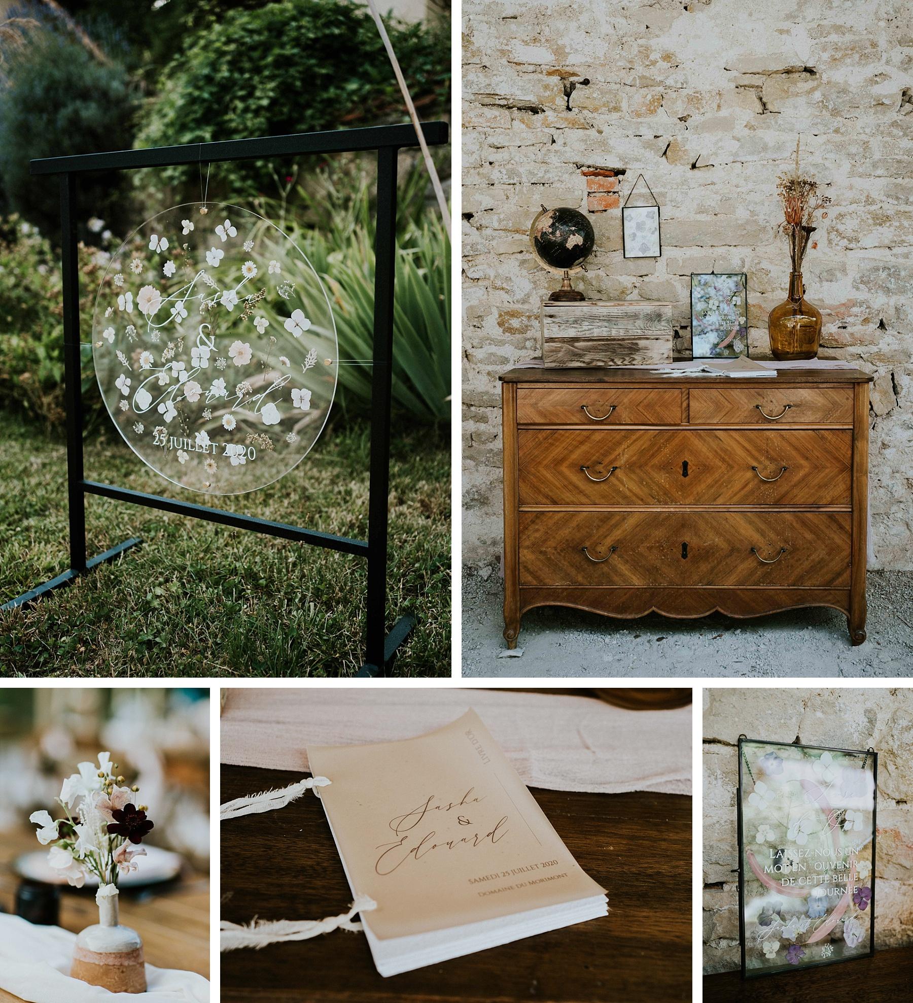 panneau bienvenue mariage eco responsable fleurs séchées