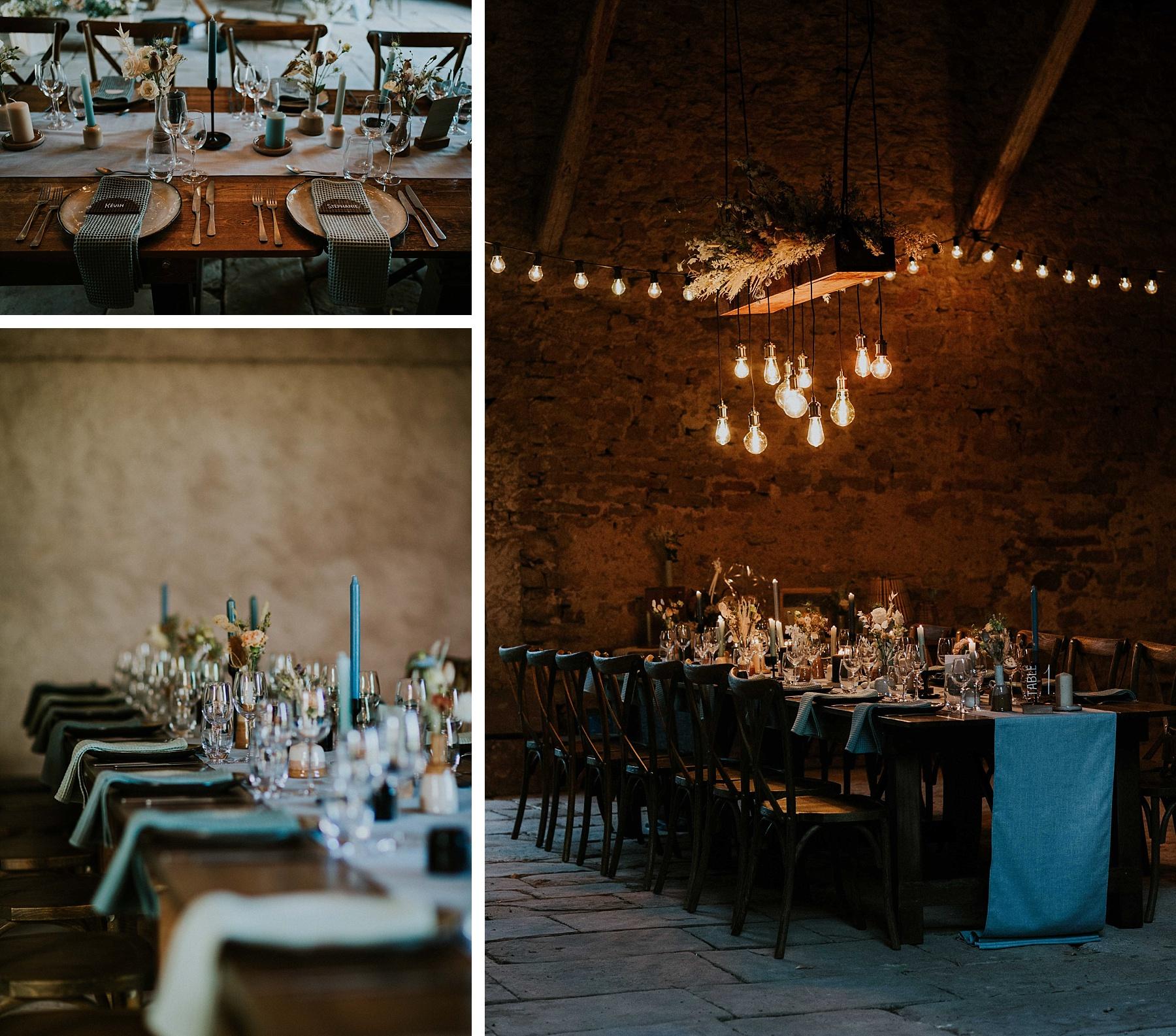 décoration mariage moderne et graphique grange alsace