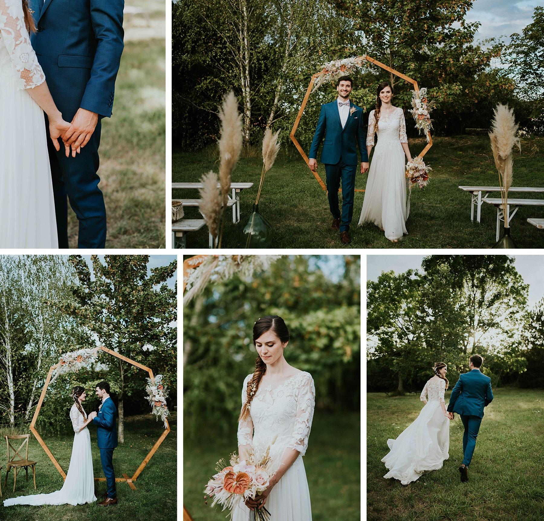mariés mariage moderne et graphique ferme alsace