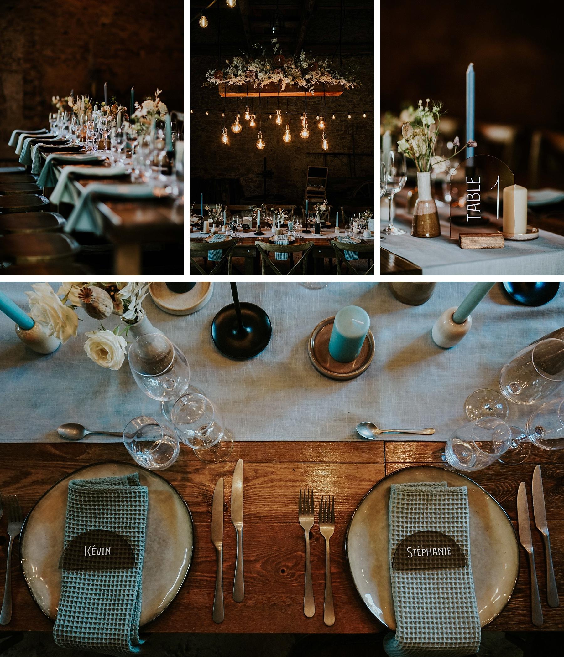 décoration de table mariage moderne et graphique grange alsace