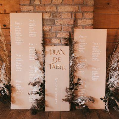 Plan de table mariage ocre et or la drille