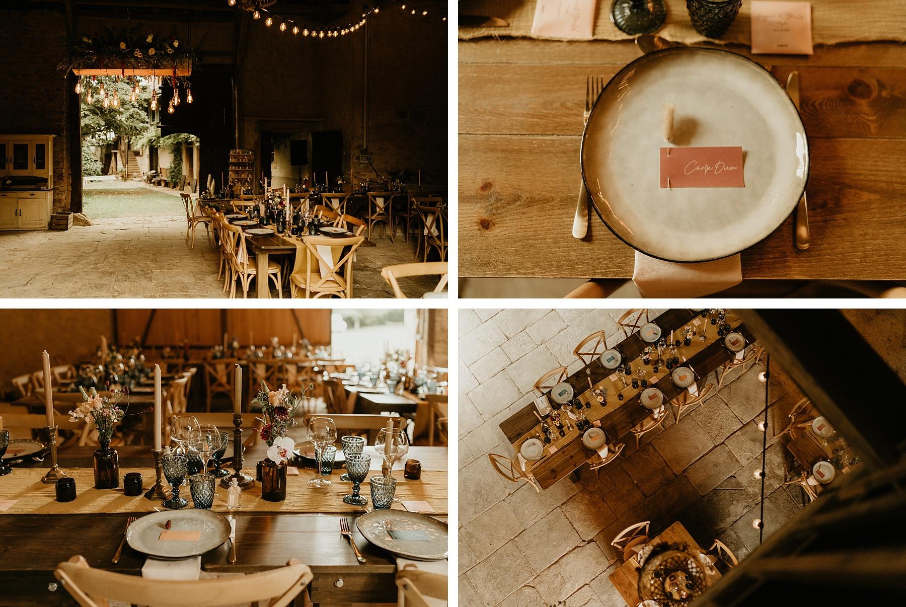détail table mariage coloré en Alsace