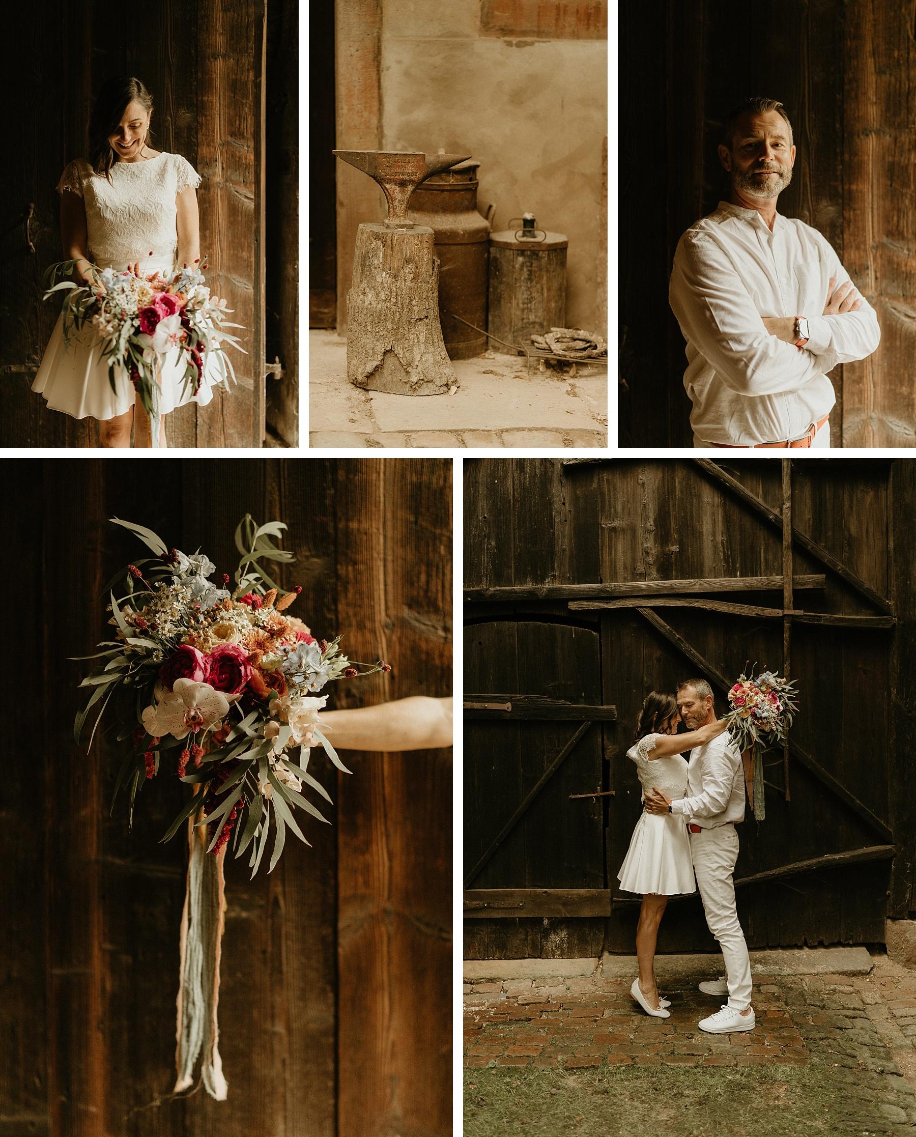 mariés mariage coloré en Alsace