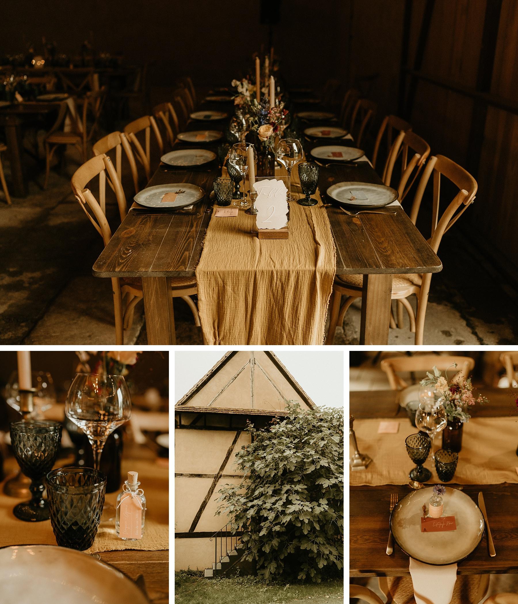 vaisselle table mariage coloré en Alsace