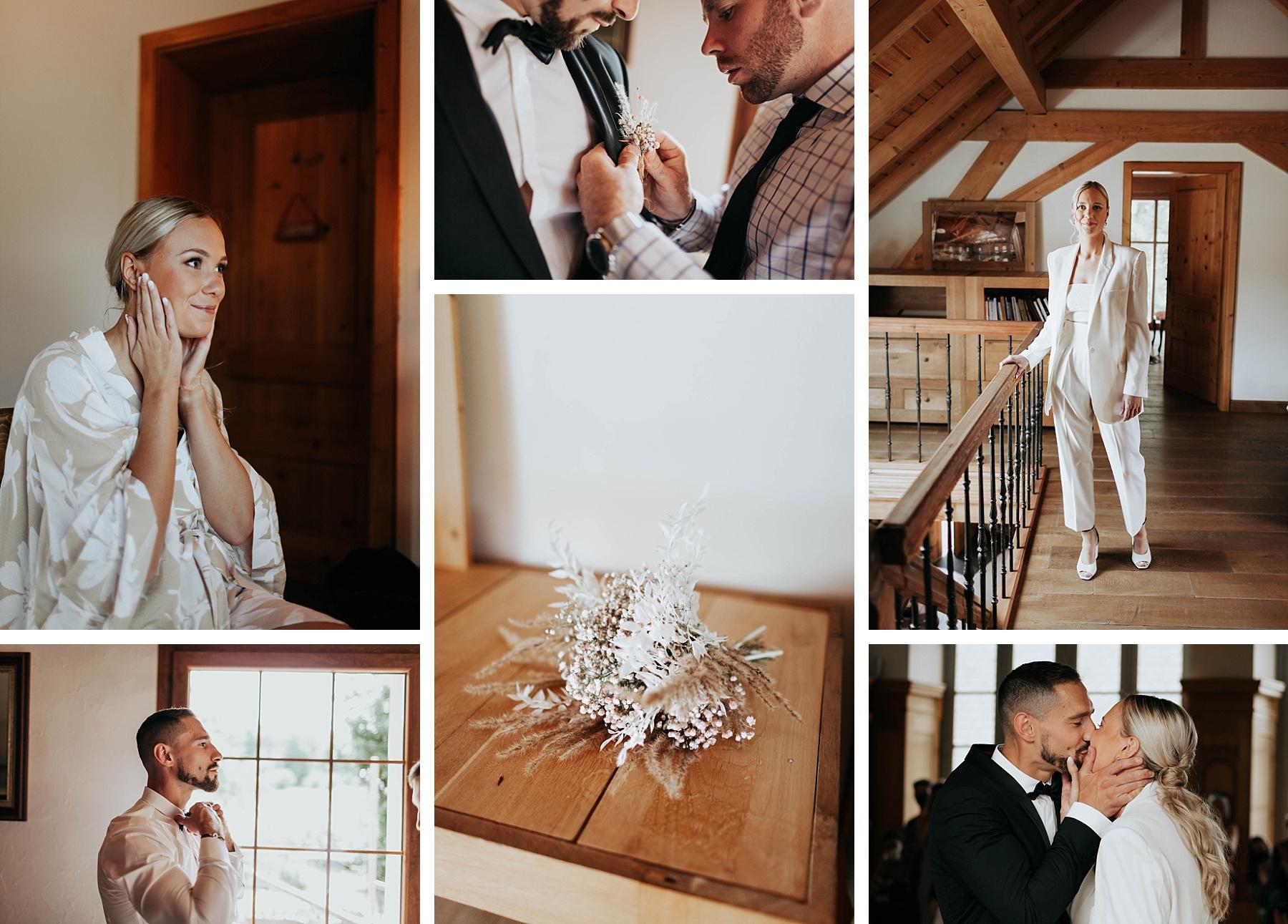 mariée pantalon mariage ocre et or la drille