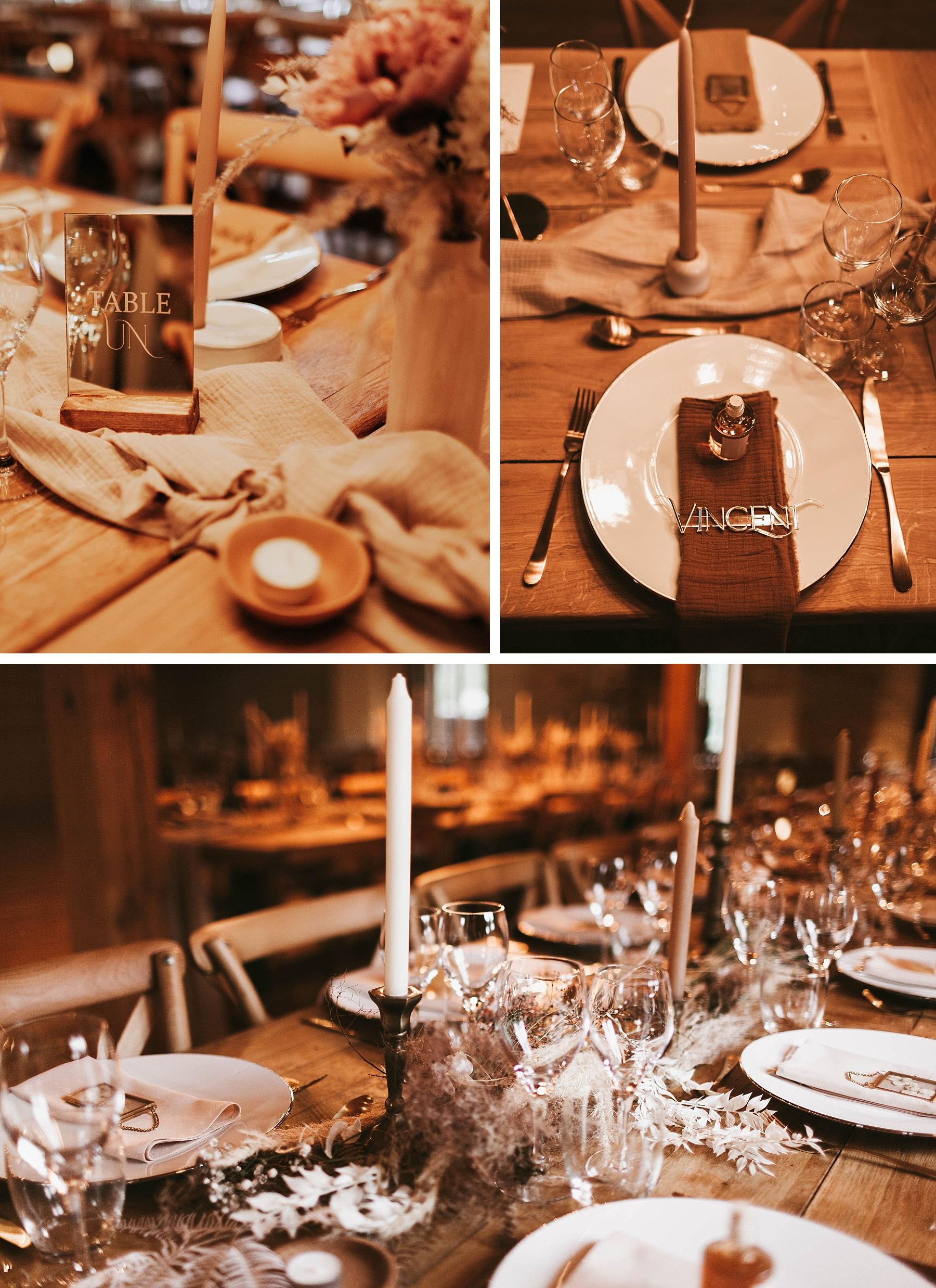 décoration de table mariage ocre et or la drille