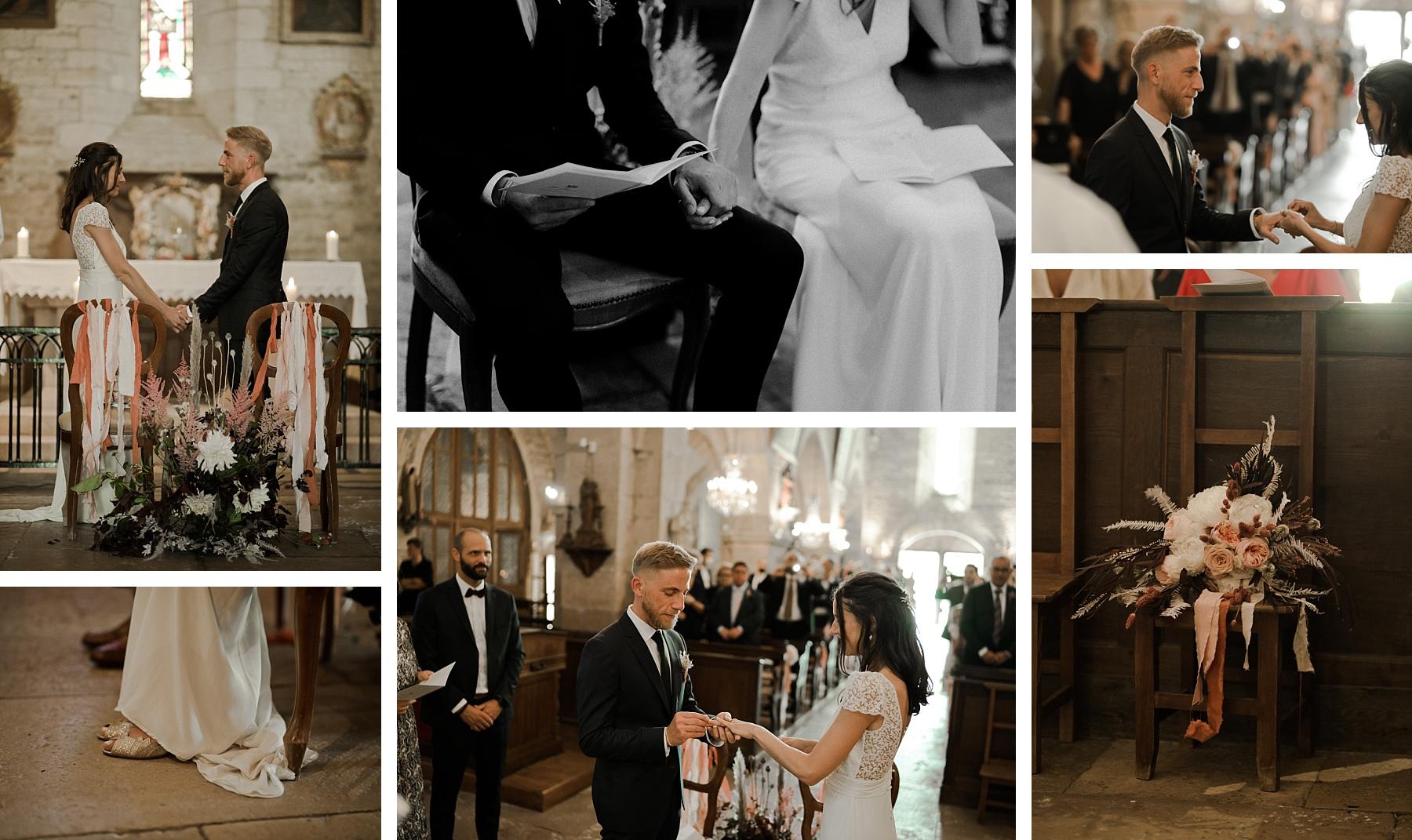 cérémonie religieuse mariage rose chateau de Barbirey