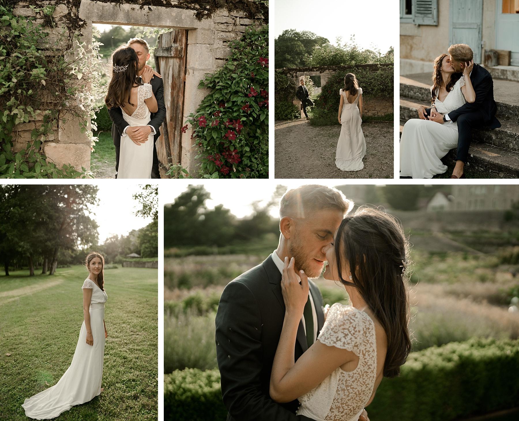 couple mariage rose chateau de Barbirey