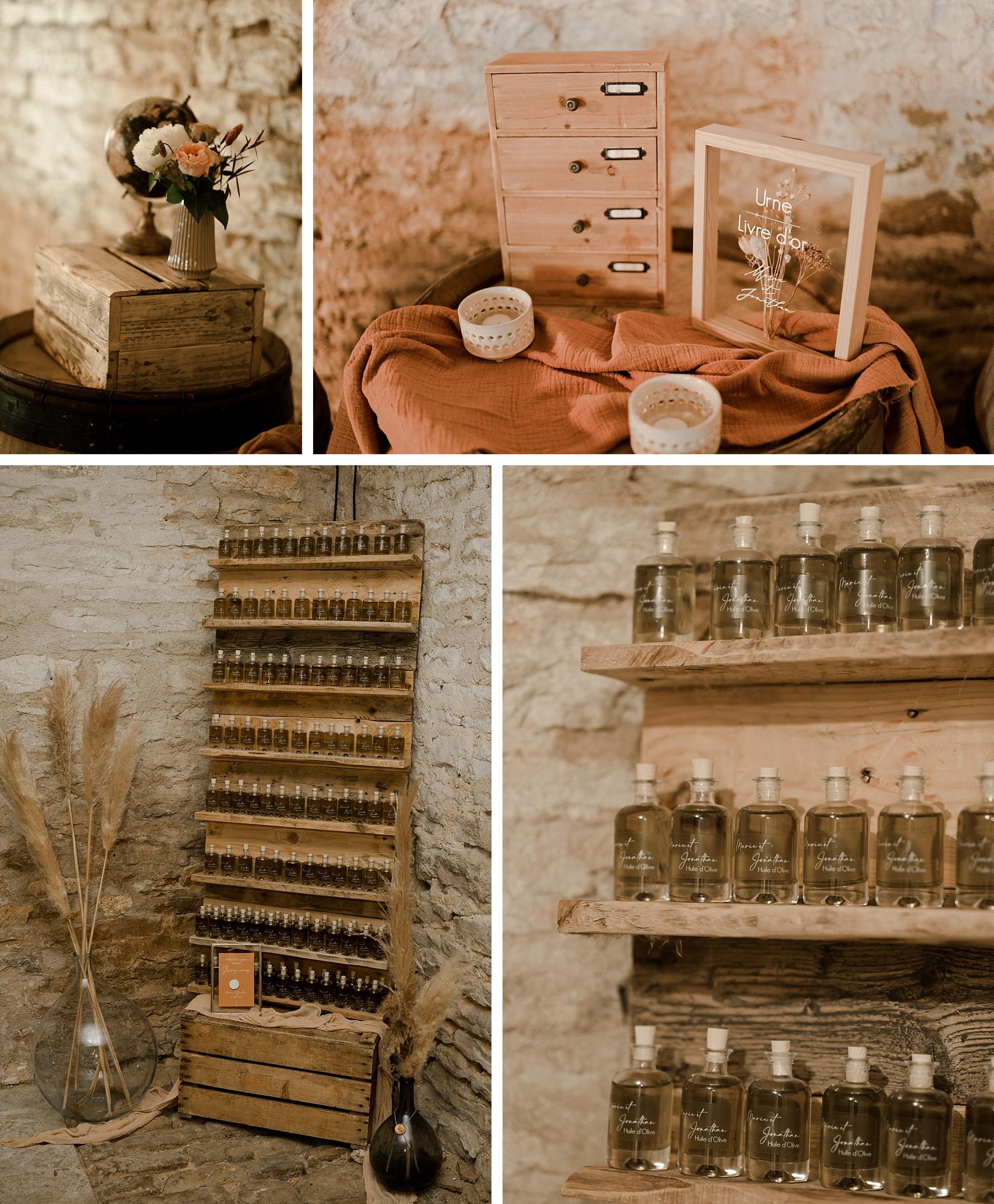 cadeaux invités mariage rose chateau de Barbirey