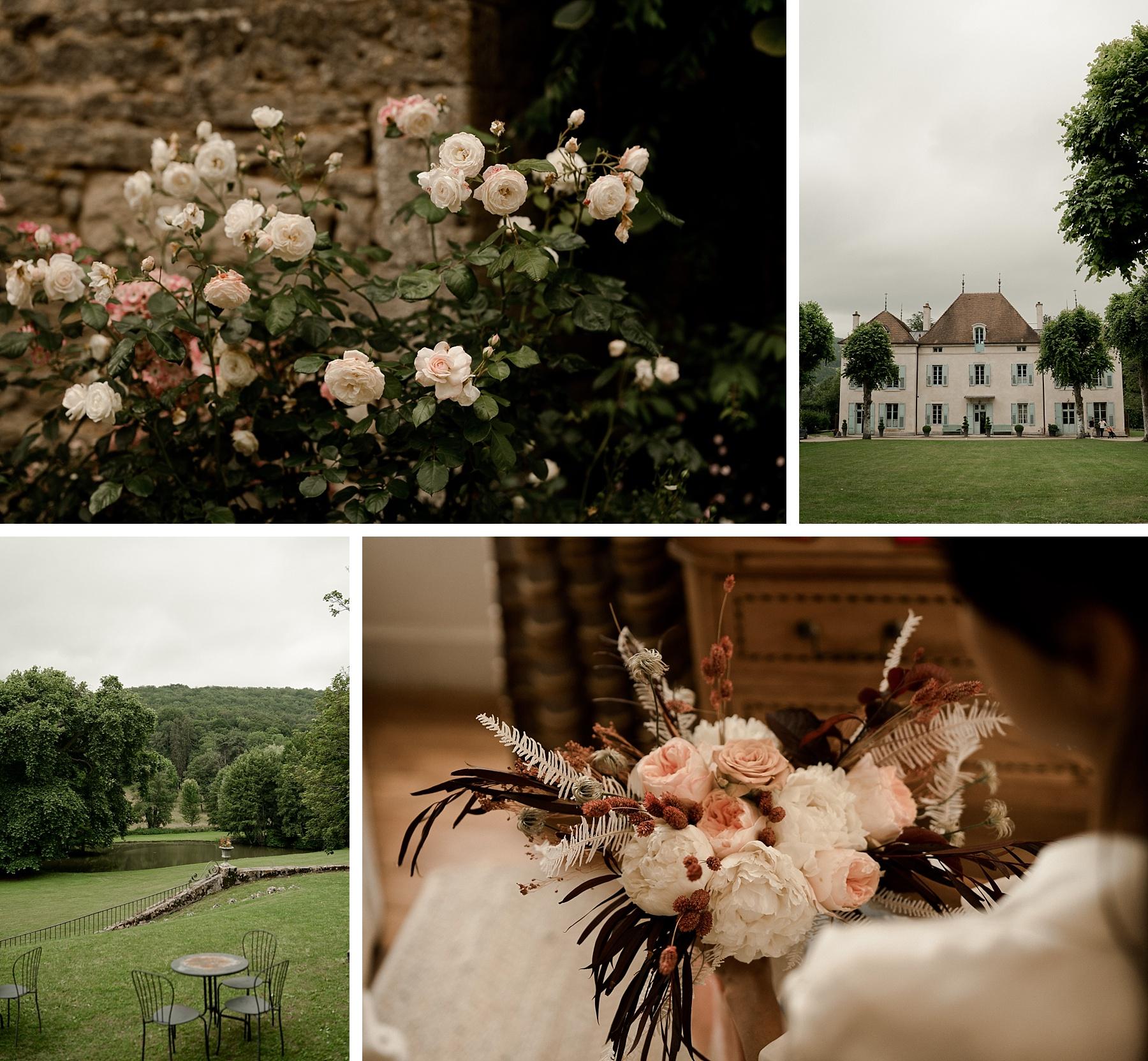 préparatifs mariage rose chateau de Barbirey