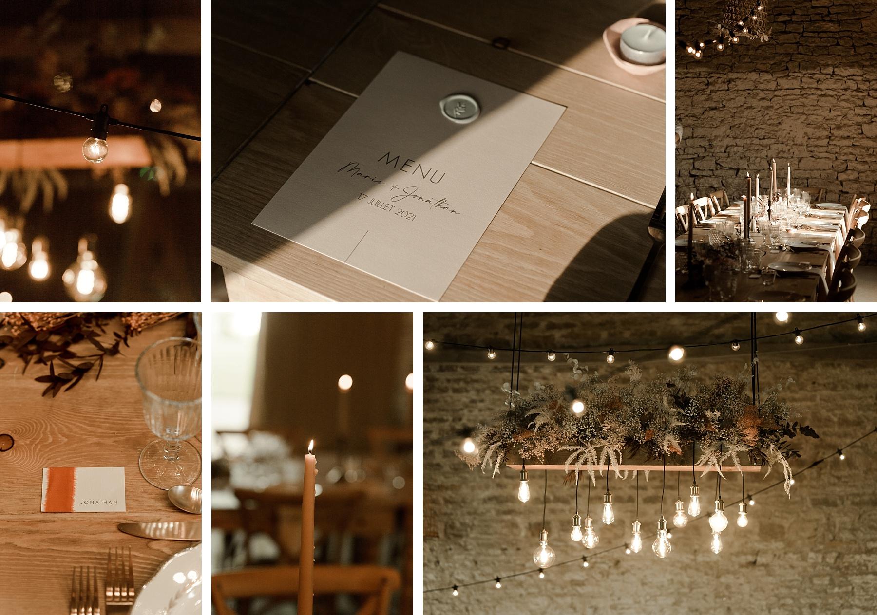 déco de table mariage rose chateau de Barbirey